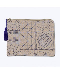 Linen pochette with printed motive, Japanese style Sashiko. Front stitch embroidery. Le Bonheur des Dames 2953