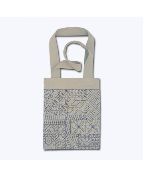 Linen bag to sew and to stitch with front stitch. Motive - Sashiko n° 2919 Cécile Vessière, Le Bonheur des Dames