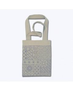 Linen tote bag to sew and to stitch with front stitch. Motive - Sashiko n° 2920 Cécile Vessière, Le Bonheur des Dames