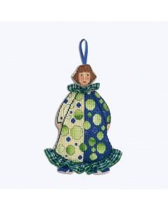 Madame Clown Ecossais en costume vert et bleu, de face - suspension brodée au point de croix. Le Bonheur des Dames 2645