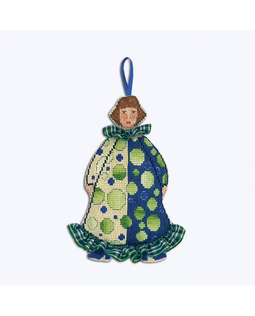 Madam Clowness in blue and green costume with tartan elements. Decorative suspension to embroider. Le Bonheur des Dames 2645
