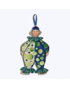 Kit broderie Clown en costume bleu et vert. Le Bonheur des Dames 2646. Suspension décorative.