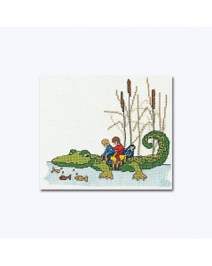 Counted cross stitch embroidery. Two children on a crocodile. Thea Gouverneur 1043