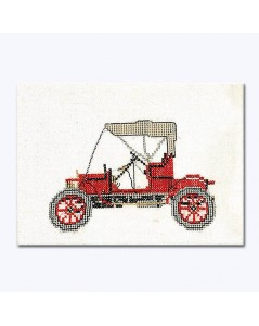 Red car Opel 1909 to stitch by counted cross stitch. Thea Gouverneur G1056