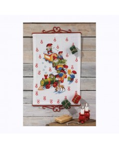 Train and gnomes - Advent Calendar to stitch. Counted cross stitch kit. Permin of Copenhagen.