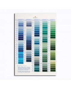 DMC Color catalogue. Samples of DMC threads. W100B. Variation, pearl, metallic, cotton. Blue, green