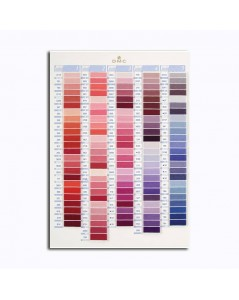 DMC Color catalogue. Samples of DMC threads. W100B. Variation, pearl, metallic, cotton. Red and violet