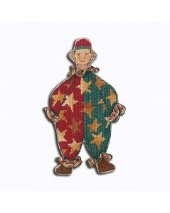 Mister Clown in red and green costume with yellow golden stars. Decorative suspension to embroider. Le Bonheur des Dames 2670