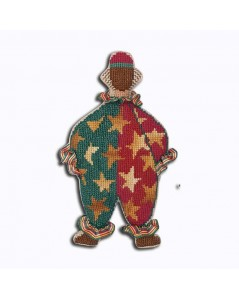 Mister Clown in red and green costume with yellow stars. Decorative suspension to embroider. Le Bonheur des Dames 2670