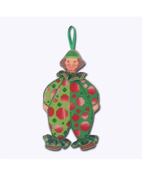 Counted cross stitch embroidery. Decorative suspension Mister Clown in green costume with red dots. Le Bonheur des Dames 2648