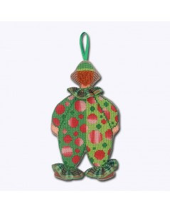 Mister Clown in green costume with red motive. Cross stitch kit, decoration to embroider. Le Bonheur des Dames 2648