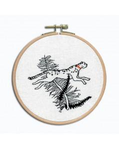 La course du guépard. Kit broderie petit point à broder sur toile de lin blanche avec du fil noir. Le Bonheur des Dames 3666