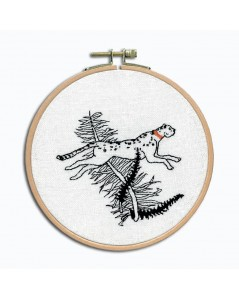 The cheetah's race. Petit point embroidery kit. To stitch on white linen with black threads. Le Bonheur des Dames 3666