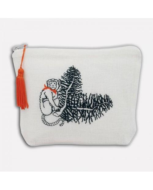 White linen pochette to stitch by petit point. Motive: monkey in the jungle. 9032. Le Bonheur des Dames