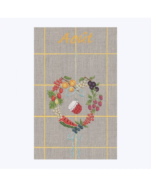 August tea-towel to stitch by cross stitch. Heart of fruits and jam pot in the middle. TL08. Le Bonheur des Dames