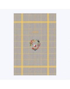 Torchon en lin avec quadrillage jaune à broder au point de croix. Motif: Août TL08