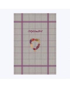 Torchon en lin avec des rayures violets à broder au point de croix. Motif cœur Septembre. Le Bonheur des Dames TL09