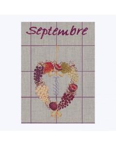 Motif à broder au point de croix, cœur Septembre à broder sur un torchon en lin naturel. Création Le Bonheur des Dames