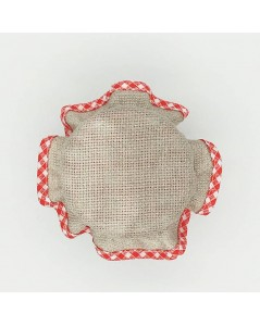 Jam lids to embroider, linen aida with red gingham edge. pcal5