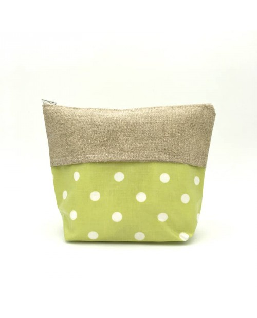 Big coated cotton and linen pochette, apple green with white polka dot.