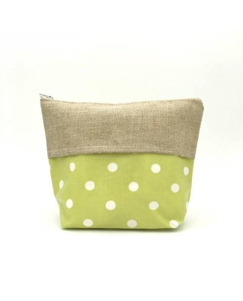 Trousse en coton enduit couleur vert pomme avec impression pois blancs, avec une bande en lin 12 fils/cm.