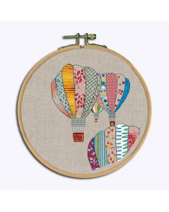 Traditional embroidery kits, with printed motive, hot air balloons in colours. Le Bonheur des Dames 1547