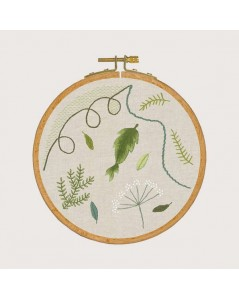Embroidery lesson - Vegetal ambience. Traditional embroidery kit on printed fabric. Le Bonheur des Dames 1540