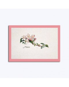 Kit broderie point de croix, point compté. Thea Gouverneur. Branche avec fleurs roses et blanches. 1048