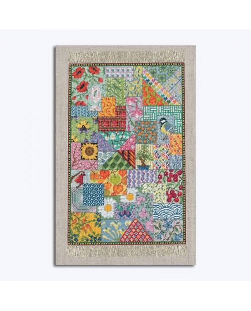 Miniature carpet Patchwork. To stitch by petit point on linen fabric. Design by Cécile Vessière for Le Bonheur des Dames. 3669