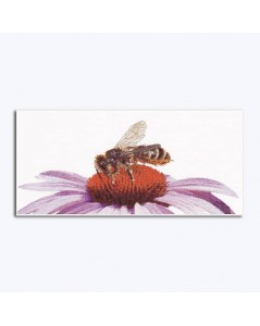 Honey bee on a flower of echinacea. Counted cross stitch kit on linen, design by Thea Gouverneur. G0549
