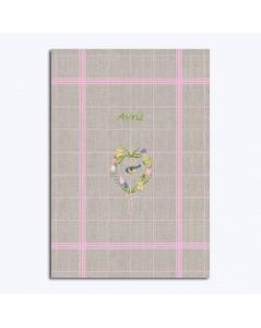 Torchon en lin avec fleurs et un oiseau. Kit broderie Le Bonheur des Dames. Avril