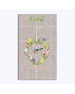 Linen tea-towel to stitch with DMC threads. Motive: flowers and a bird. Le Bonheur des Dames.