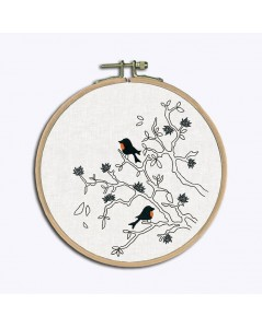 Traditional embroidery kits, with printed motive, birds on branches in black and white monochrome. Le Bonheur des Dames 1545