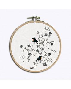 Kit broderie imprimé, broderie traditionnelle. Oiseaux sur les branches monochromes. Le Bonheur des Dames 1545