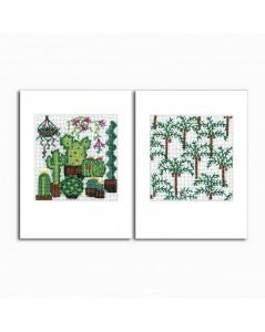 2 Cartes de vœux  avec motifs végétales, à broder sur toile Aida 8 pts/cm. Le Bonheur des Dames 7536