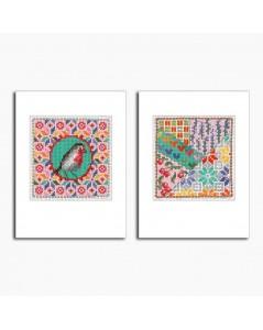 2 Cartes de vœux  avec motifs oiseau et patchwork, à broder sur toile Aida 8 pts/cm. Le Bonheur des Dames 7537