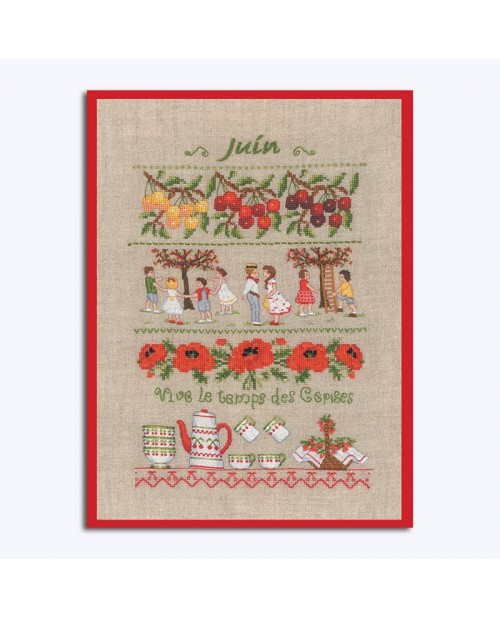 June. Motive: yellow and red cherries, children, poppies, red and white cups, bowls, teapot. Le Bonheur des Dames 1143