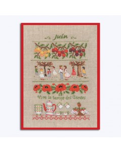 Kit broderie Juin. Motif: cerises, enfants, vaisselle rouge et blanche, coquelicots. Le Bonheur des Dames