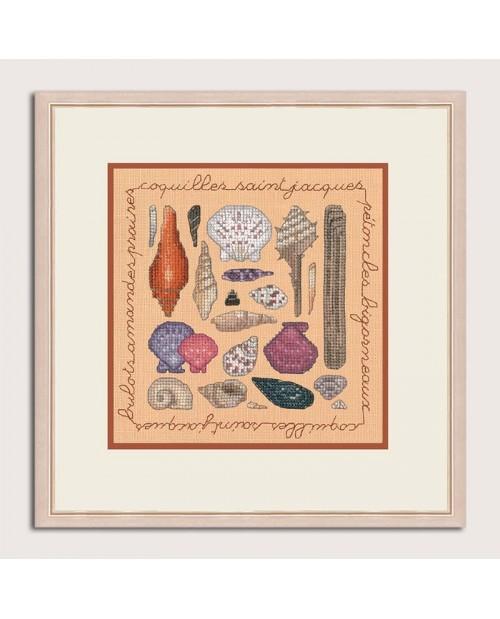 Miniature picture Seashells to stitch by cross stitch on salmon linen. Le Bonheur des Dames 2280