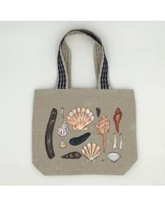 Hand painted linen bag. Seashells. Le Bonheur des Dames SPEL1