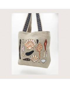 Linen bag with Seashells painted by hand. Le Bonheur des Dames