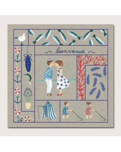 Welcome July. Printed design to stitch with traditional embroidery stitches. Le Bonheur des Dames. 7707