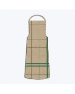 Linen apron with green grid pattern. Le Bonheur des dames