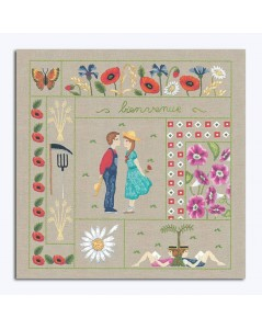 Welcome August. Printed design to stitch with traditional embroidery stitches. Le Bonheur des Dames. 7708