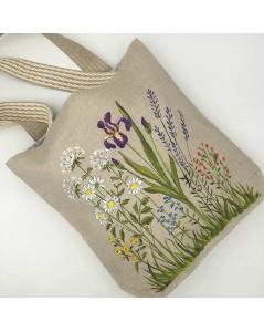Sac cabas en lin naturel avec motif de  fleurs peint à la main. Le Bonheur des Dames SPEL2