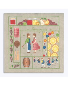 Welcome August. Printed design to stitch with traditional embroidery stitches. Le Bonheur des Dames. 7709