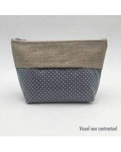 Pochette made of varnished cotton grey with white polka-dot. Le Bonheur des Dames TCE20