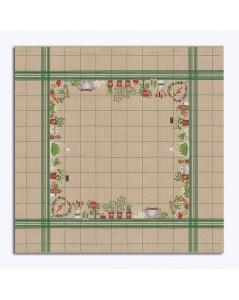 Nappe légumes sur lin naturel avec quadrillage vert. Kit broderie point de croix, point compté. Le Bonheur des Dames