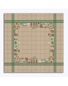 Tablecloth with vegetables. Natural linen with green grid. Counted cross stitch embroidery. Le Bonheur des Dames.