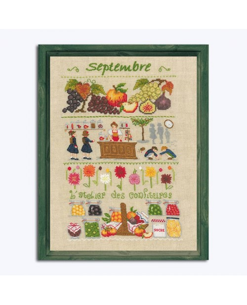 September. Motive embroidered by counted cross stitch and tent stitch. Design by Cécile Vessière for Le Bonheur des Dames 1146.